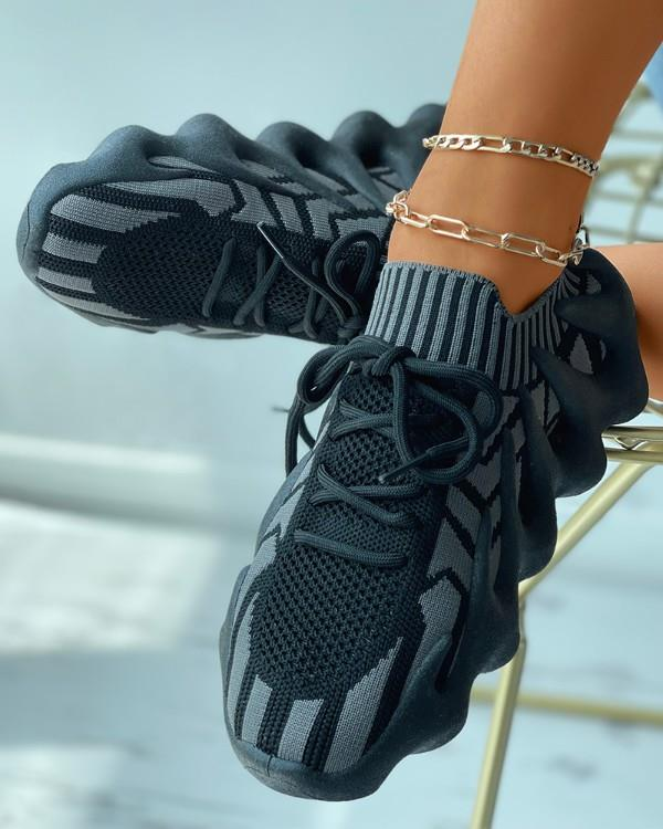 Image of Colorblock Lace-up Knit Breathable Sneakers