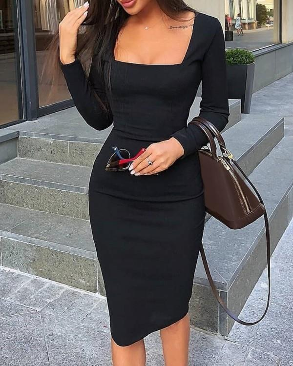 Image of Square Neck Long Sleeve Bodycon Dress