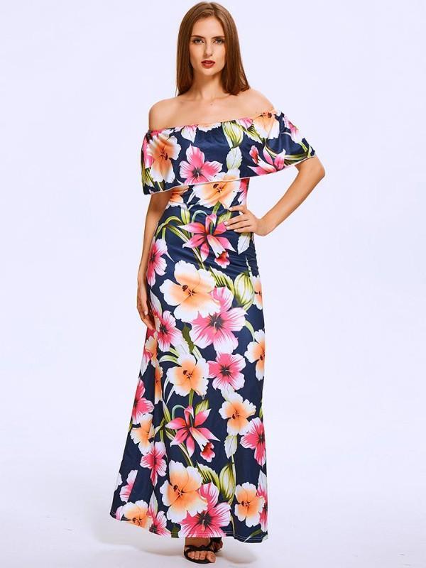 Image of Summer Slash Neck Off Shoulder Lotus Leaf Floral Maxi Chiff Dress