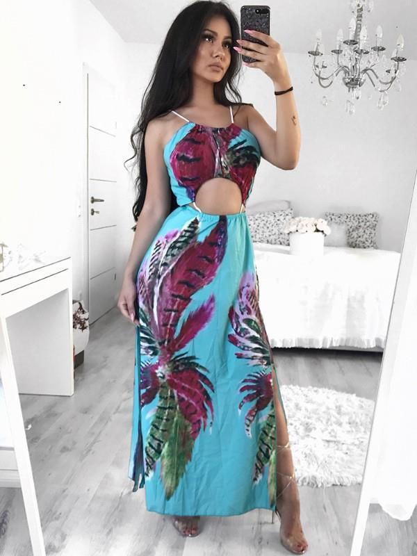 Image of Bohemian Style High Slit Maxi Slip Dress