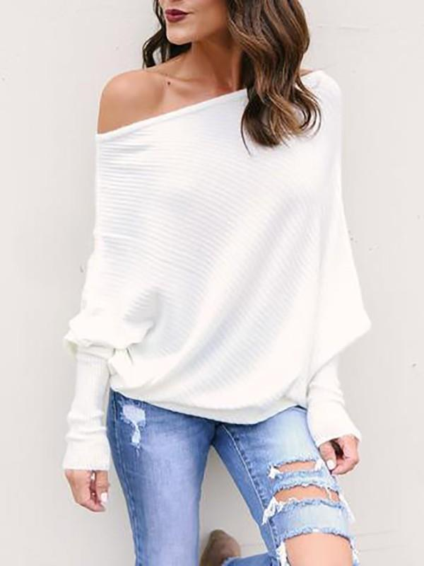 Image of Trendy Skew Neck Batwing Sleeve Blouse