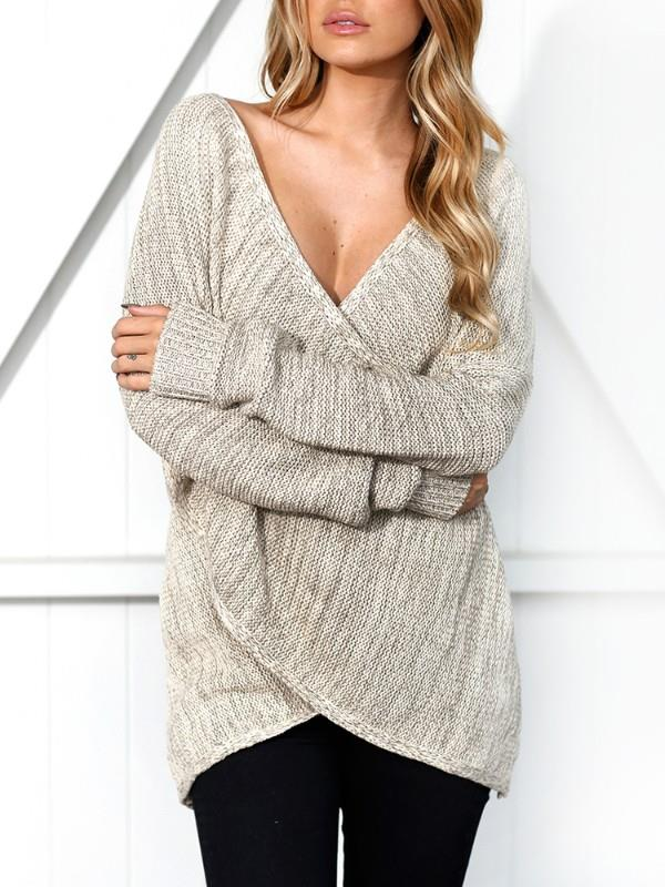 Image of Deep V Wrapped Casual Sweater