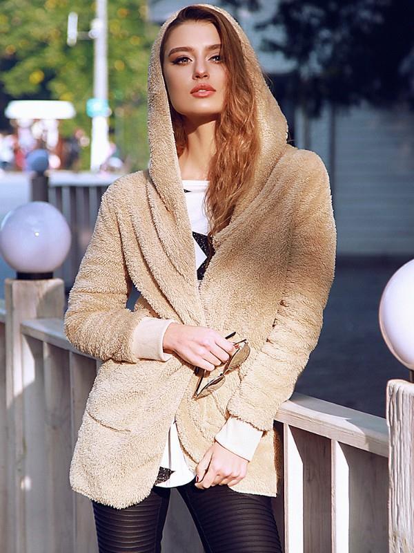 Image of Warm Solid Pocket Design Hoodies Fluffy Coat