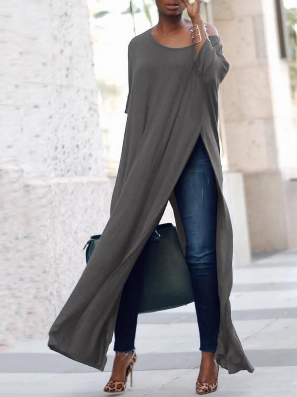 Image of Stylish Solid High Slit Casual Blouse