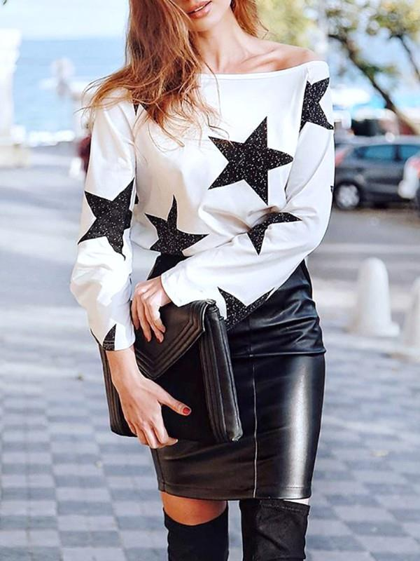 Image of Fashion Star Print One Shoulder Casual Top