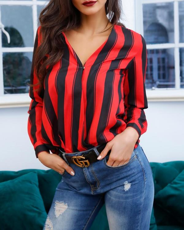 Image of Stripes Deep V Long Sleeve Casual Blouse