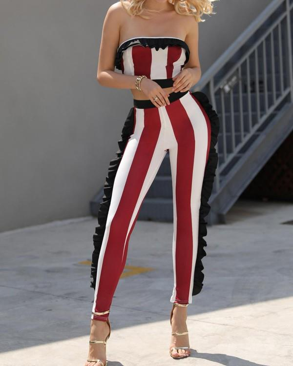 Image of Sexy Ruffle Trim Striped Crop Top and Pants Set