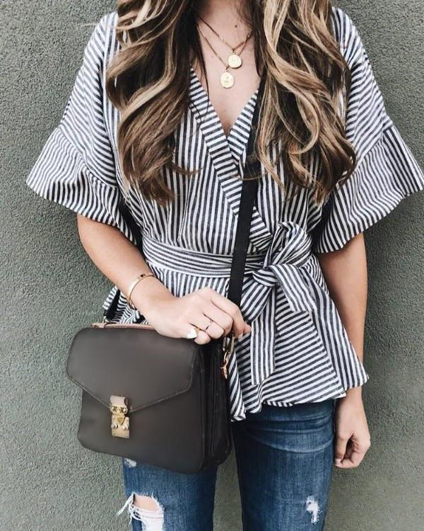 Image of Striped Flared Sleeve Tied Waist Peplum Blouse