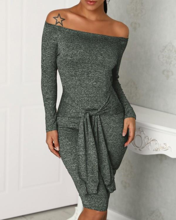 Image of Off Shoulder Long Sleeve Bodycon Dress