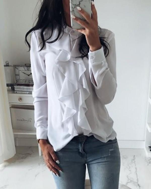Image of Solid Ruffles Design Long Sleeve Casual Blouse