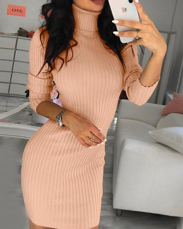 Image of Solid High Neck Long Sleeve Bodycon Dress