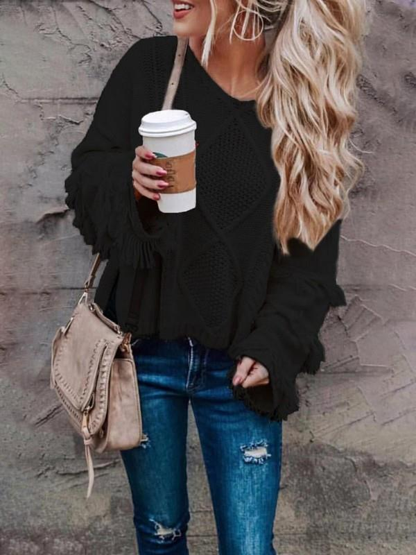 Image of Solid Tassel Side Slit Pullover Sweater