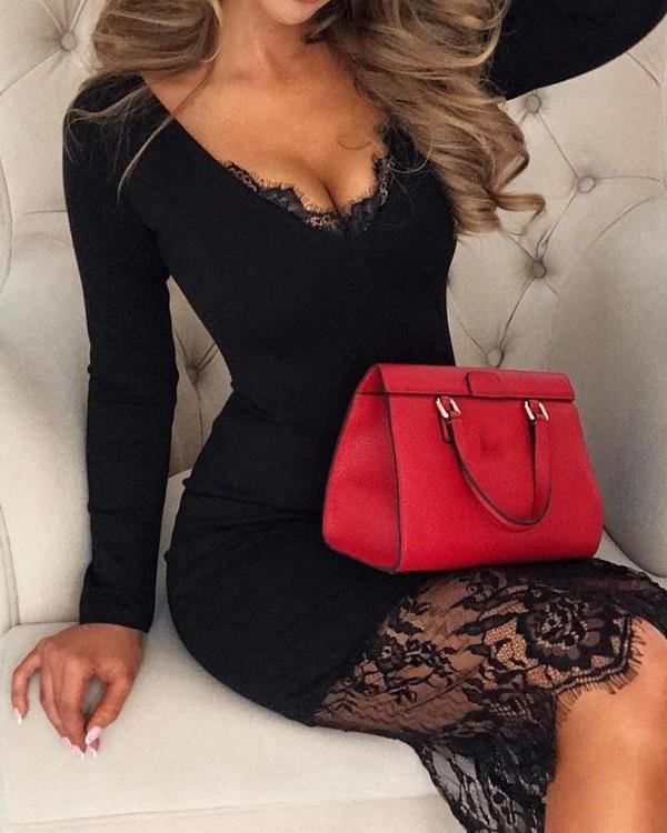 Image of Eyelash Lace Splicing Long Sleeve Dress