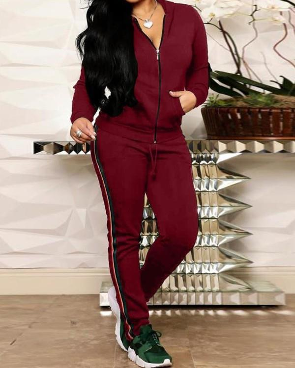 Image of Striped Tape Hooded Zipper Jacket & Pants Sets
