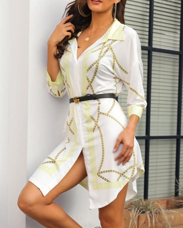Image of Scarf Print Curve Hem Shirt Dress