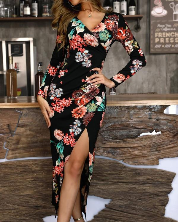 Image of Floral Print Surplice Wrap Slit Bodycon Dress