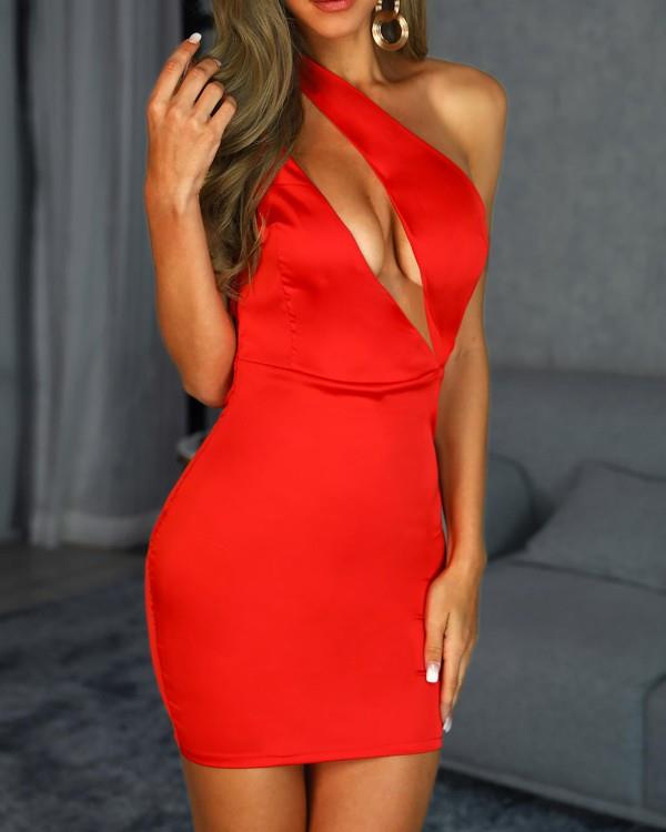 Image of Cut Out One Shoulder Backless Bodycon Dress