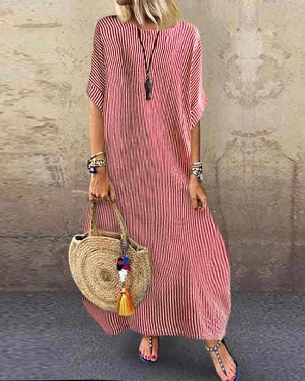Image of Striped Half Sleeve Loose Maxi Dress