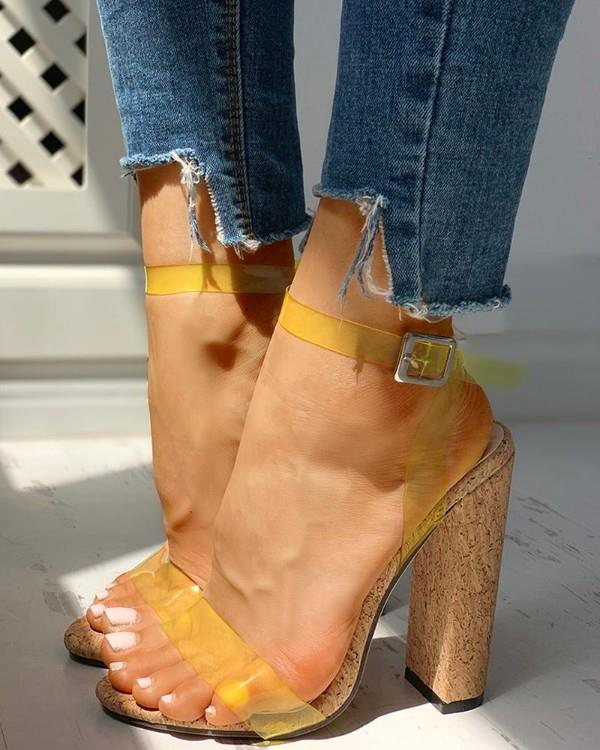 Image of Open Toe Transparent Strap Chunky Heeled Sandals