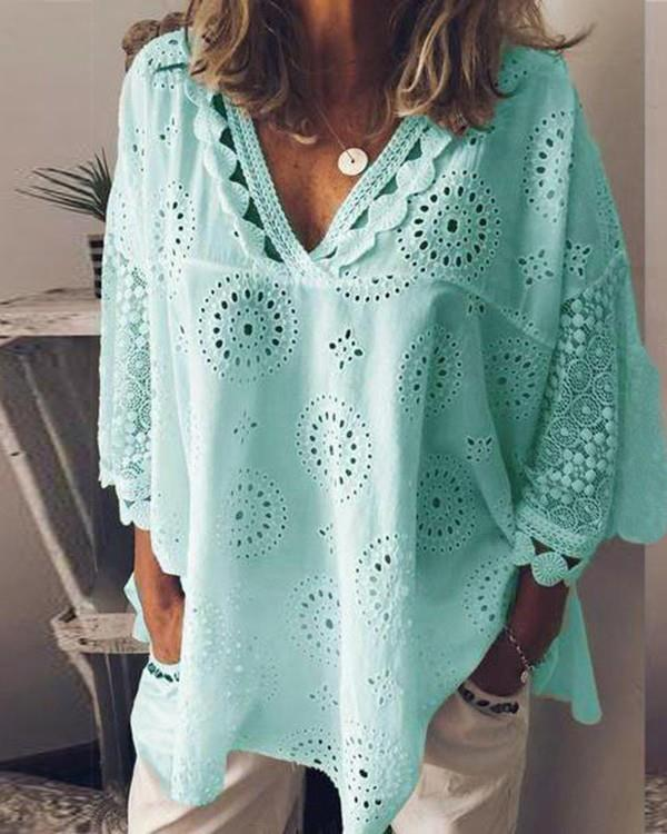 Image of V Neck Broderie Anglaise Lace Blouse