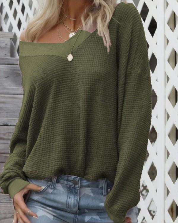 Image of Casual V-neck Long Sleeve Sweater