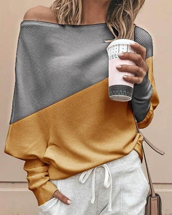 Image of Batwing Sleeve Colorblock Casual Blouse