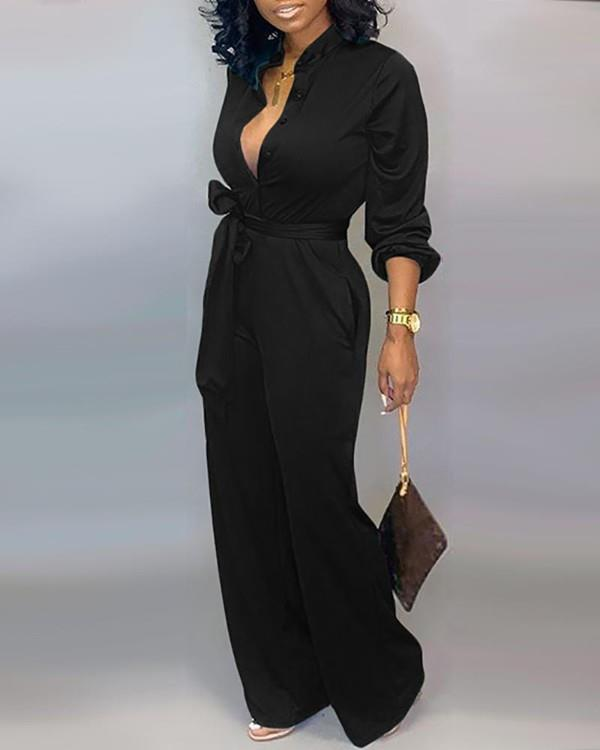 Image of Solid Buttoned Pocket Casual Jumpsuit