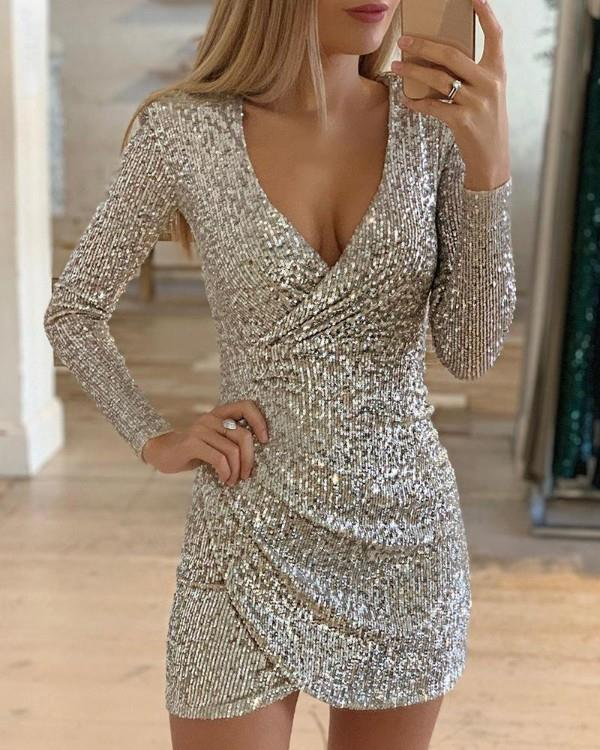 Image of Surplice Wrap Ruched Sequins Bodycon Dress