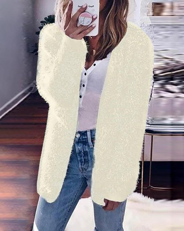 Image of Solid Fluffy Long Sleeve Casual Cardigan