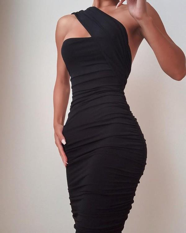 Image of One Shoulder Sleeveless Ruched Bodycon Dress