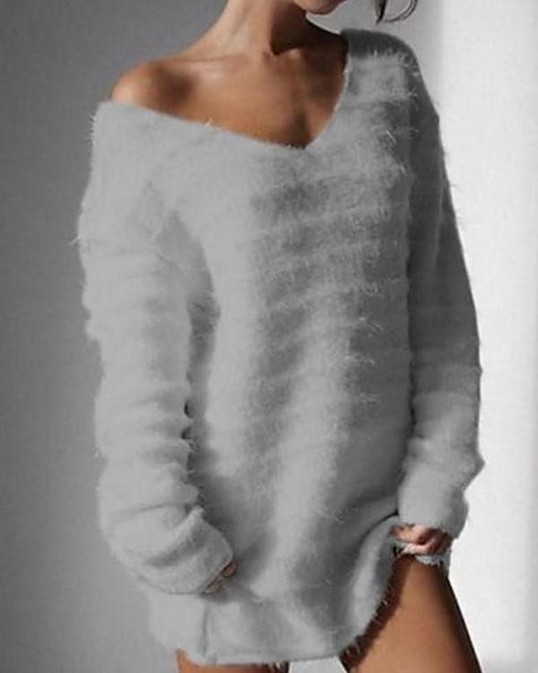 Image of Solid Long Sleeve V Neck Fluffy Sweater
