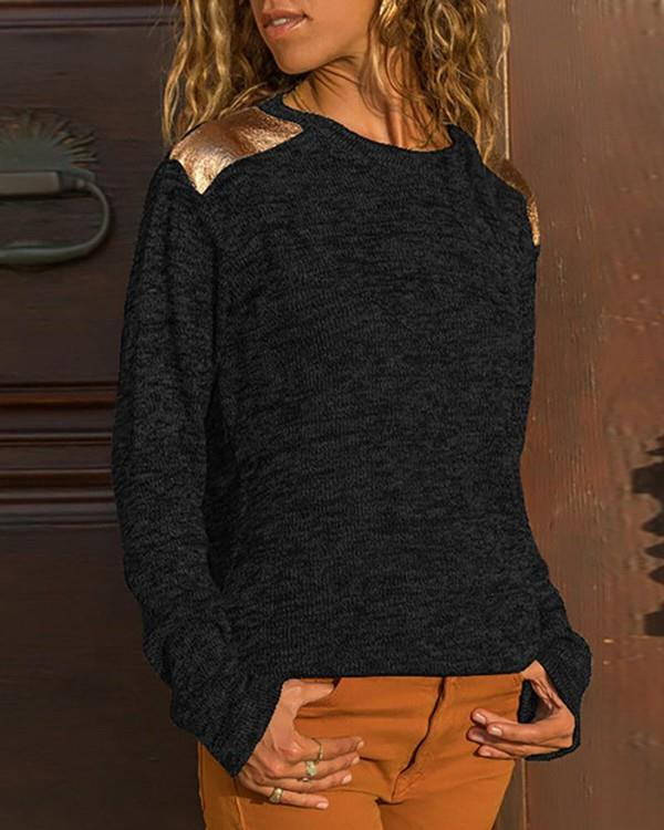 Image of Colorblock Long Sleeve Casual Sweater