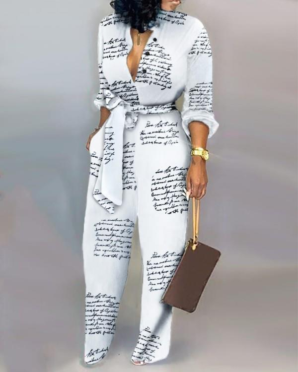 Image of Letter Print Casual Knotted Jumpsuit