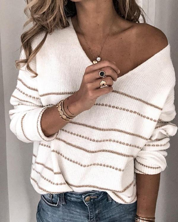 Image of V Neck Striped Knit Sweater