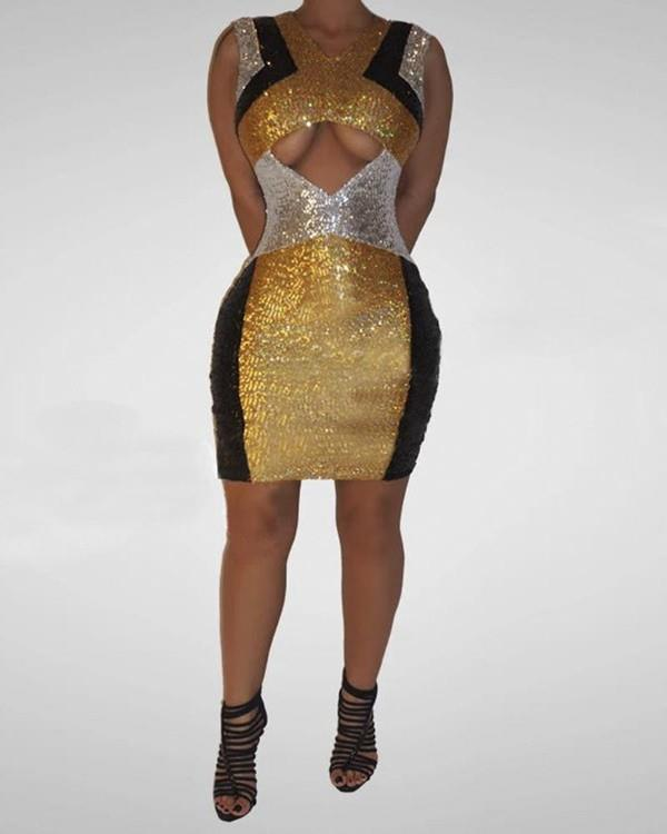 Image of Glitter Sleeveless Colorblock Cut Out Sequins Bodycon Dress