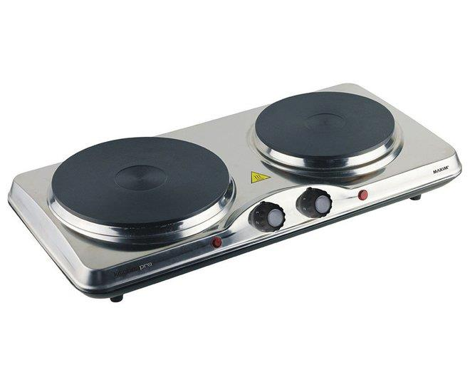 Image of Maxim KitchenPro Portable Electric Twin Hot Plate Cooktop - Stainless Steel HP2
