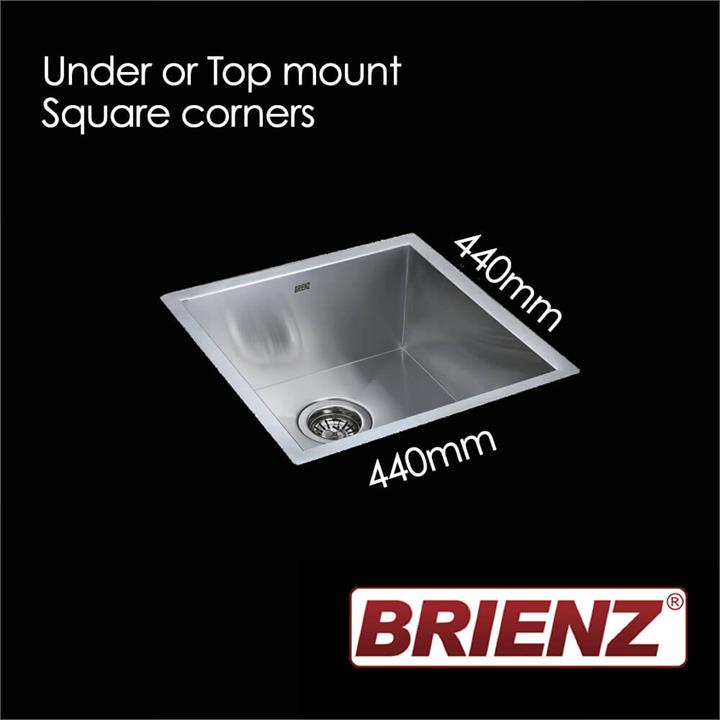 Stainless Steel Kitchen Sink - Single Bowl Square Corners - 1.0mm Thick