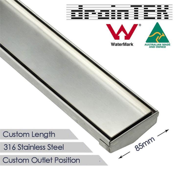 Shower Grate - Tile Insert - 85 mm - Custom Length and Outlet