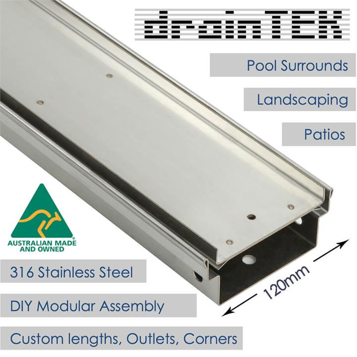 Outdoor Landscape Pool Drainage Channel - Tray and Grate - Tile Insert - 120mm wide