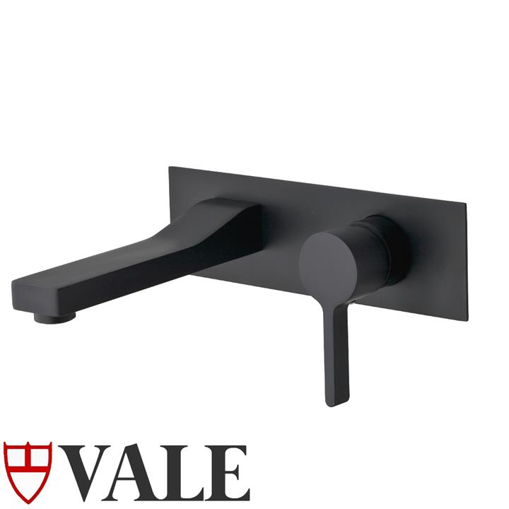 Brighton Nero Wall Mounted Single Lever Basin Mixer and Spout - Matte Black