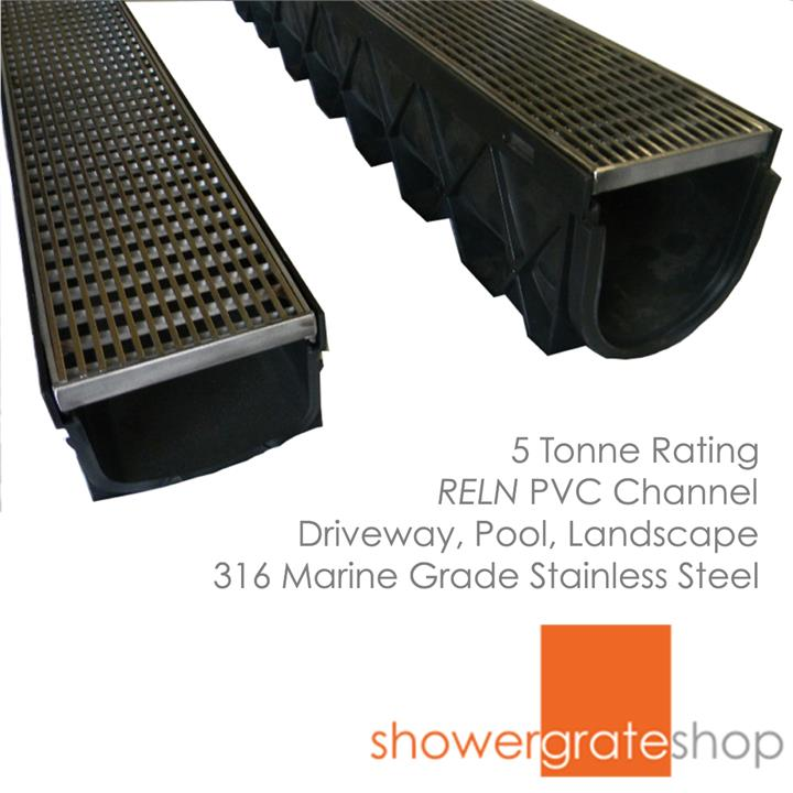 Architectural Outdoor Stainless Steel Drainage Grate and Channel - for Pool, Landscape or Driveway