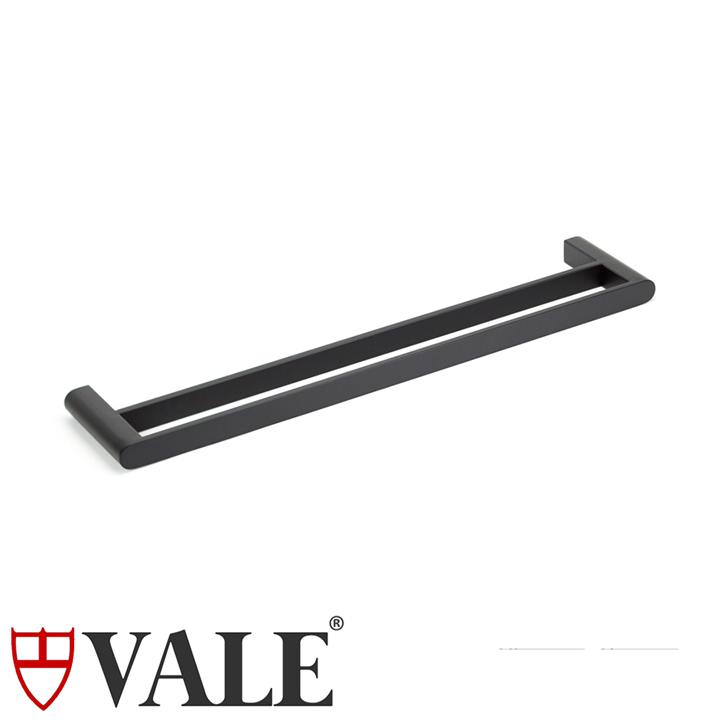Fluid Stainless Steel Double Towel Rail (600mm) - Matte Black