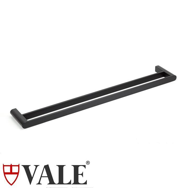 Fluid Stainless Steel Double Towel Rail (750mm) - Matte Black