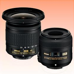Image of New Nikon DX Landscape & Macro 2 Lens Kit with 10-20mm f/4.5-5.6 and 40mm f/2.8 Lenses