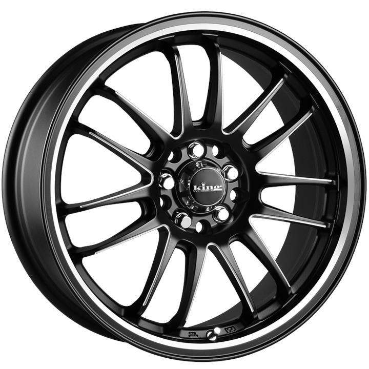 Image of King Wheels DRIFTA SATIN BLACK PIPED Wheels