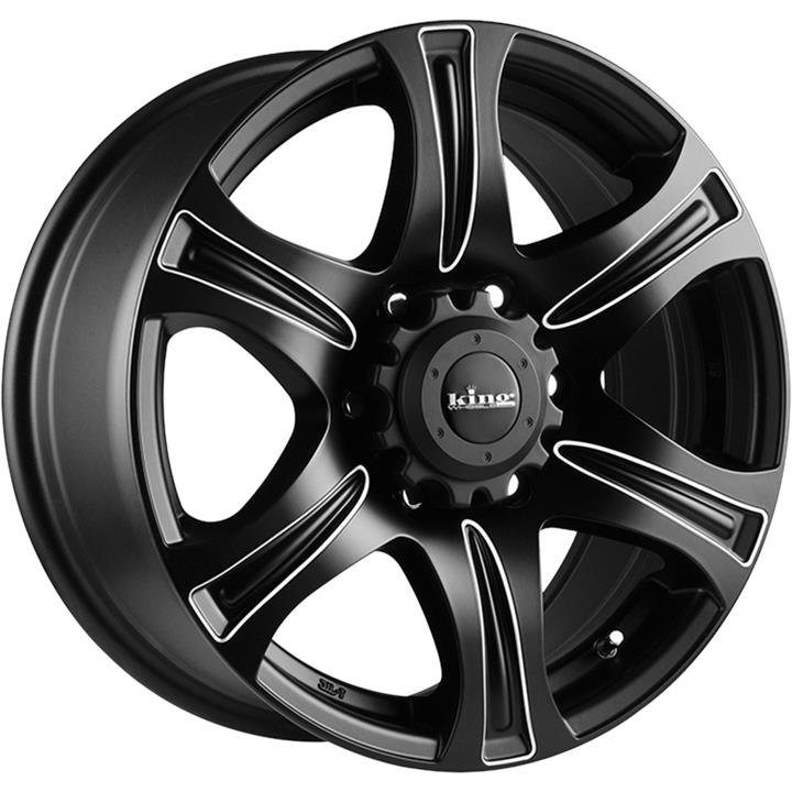 Image of King Wheels REBEL PIPED SATIN BLACK Wheels