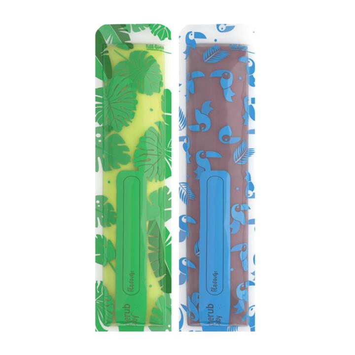 Image of Reusable Freeze n Squeeze Ice Pop Pouches -Toucan Blue & Rainforest Green 20pk