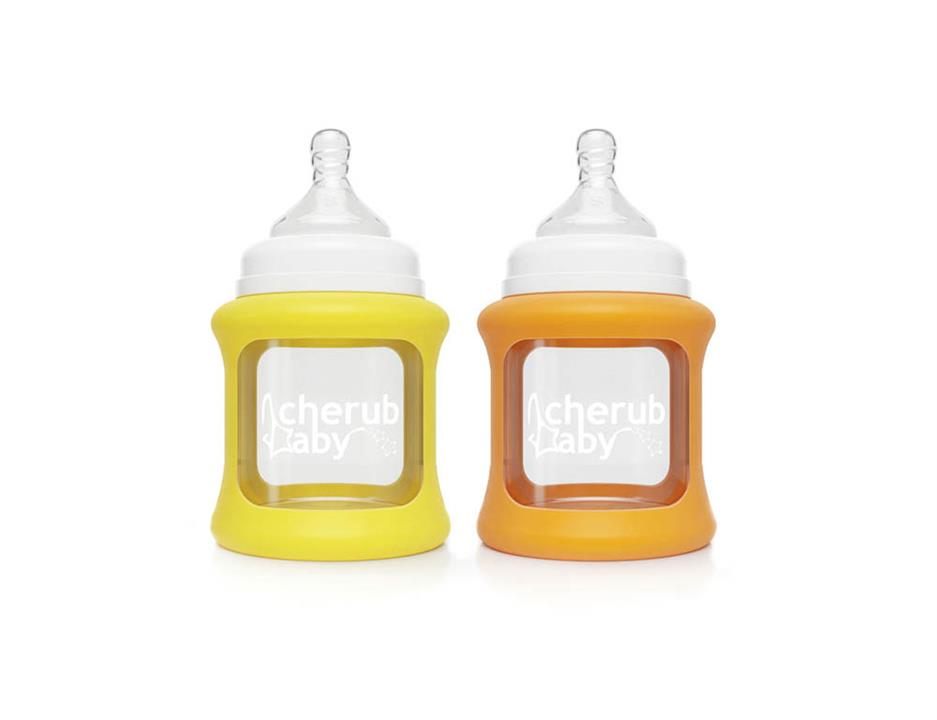 Image of Colour Change Glass Baby Bottles Wide Neck 150ml Twin - Yellow Orange
