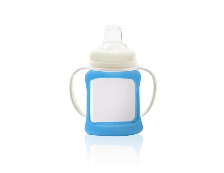 Image of Wide Neck Glass Sippy Cup with Colour Change Sleeve 150ml - Blue