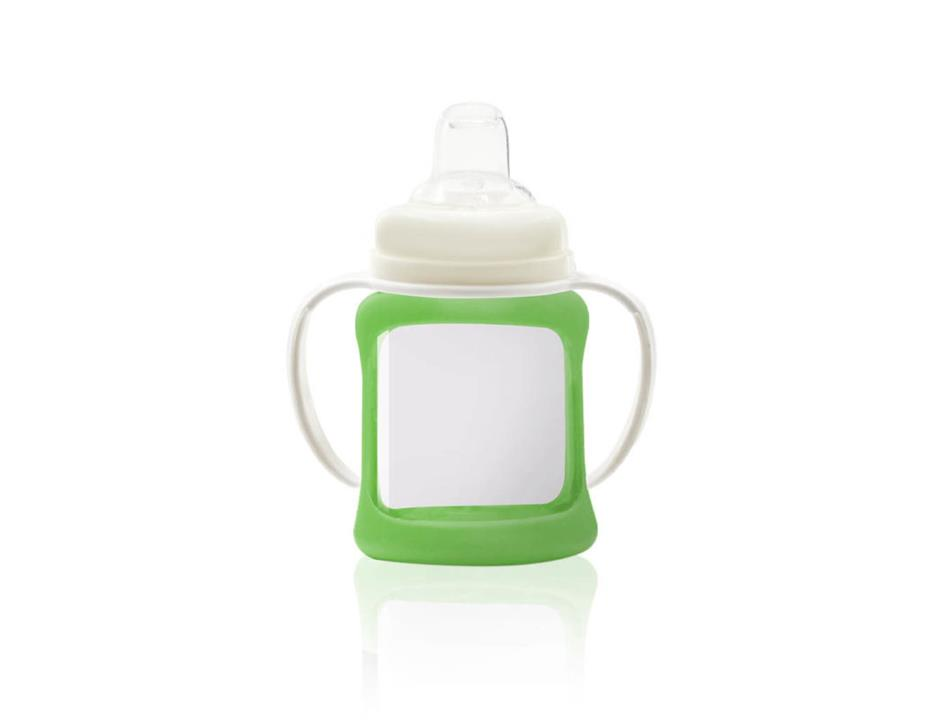 Image of Wide Neck Glass Sippy Cup with Colour Change Sleeve 150ml - Green